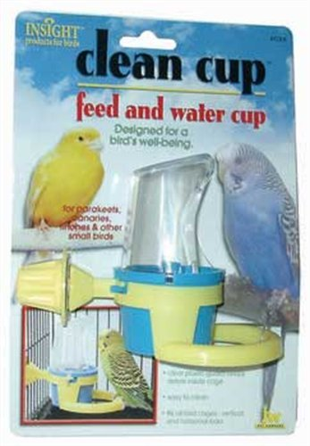 JW Pet Company Clean Cup Feeder and Water Cup Bird Accessory, Small, Colors may vary - Extended Cage