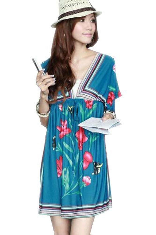 Tamari Damen Kaftan, Blau (Flower Pattern Strandkleid Kleid Einheitsgröße für Gr. 8 UK, 10, 12