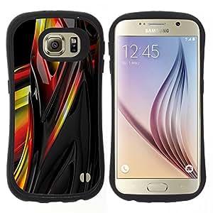 "Hypernova Slim Fit Dual Barniz Protector Caso Case Funda Para Samsung Galaxy S6 [Liquid Metal Amarillo Negro Rojo Resumen de Sharp""]"