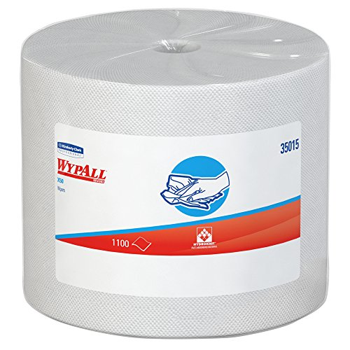 Wypall X50 Disposable Cloths (35015), Strong for Extended Use, Jumbo Roll, White, 1,100 Sheets/Roll by Kimberly-Clark Professional