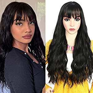 HUA MIAN LI Long Wavy Wig With Air Bangs Silky Full Heat Resistant Synthetic Wig for Women - Natural Looking Machine Made 26 inch Hair Replacement Wig for Party Cosplay Body Wavy (Black)