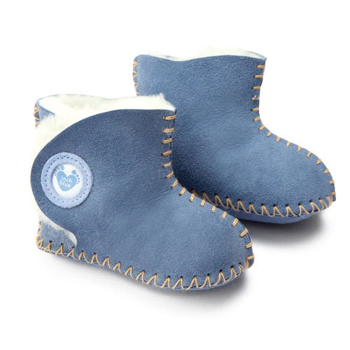 Inch Blue Girls Boys Lujo Ante Oveja suave suela mullido Baby Booties – Cwtch Azul