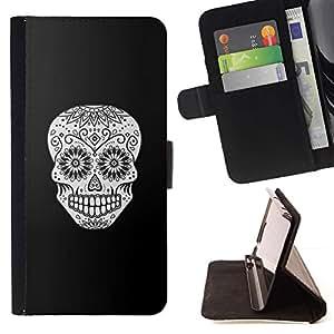 Momo Phone Case / Flip Funda de Cuero Case Cover - Cráneo Negro floral blanco Muerte de Halloween - HTC Desire 626
