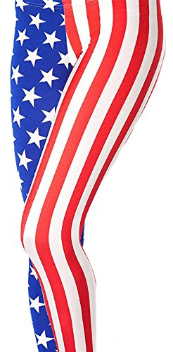 Sister Amy Women's High Waist Pure Color Digital Printted Ankle Elastic Tights Legging Z-USA Flag
