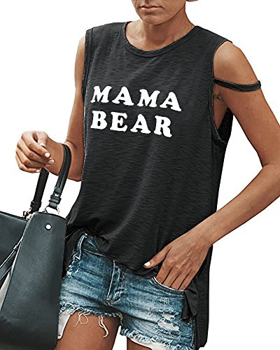 Gobought Womens Graphic Crew Neck Blouse Sleeveless Loose Funny Tunic Tank Tops (Top Bears)