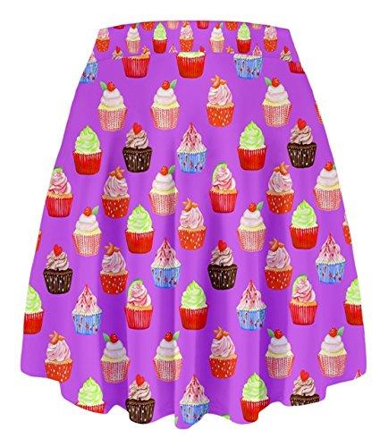 Cowcow- Falda de cintura alta, diseño de pasteles añil