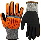 Impact Reducing Safety Gloves, Grip Coating Cut Resistant Work Gloves, Hands Protective for Mechanic Garden Construction Auto Industry Multipurpose (X-Large, Impact Reducing Gloves)