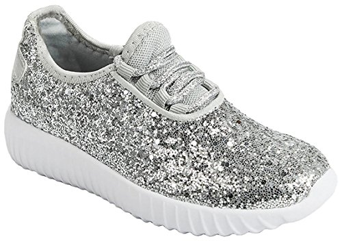 JKNY Kids Girls Fashion Metallic Sequins Glitter Lace up Sneakers Silver 12 -