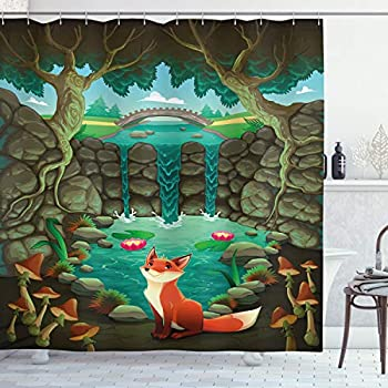 Ambesonne Cartoon Shower Curtain by, Fox near the Pond Mushrooms Waterlilies and a Waterfall Illustration, Fabric Bathroom Decor Set with Hooks, 70 Inches, Forest Green Sky Blue
