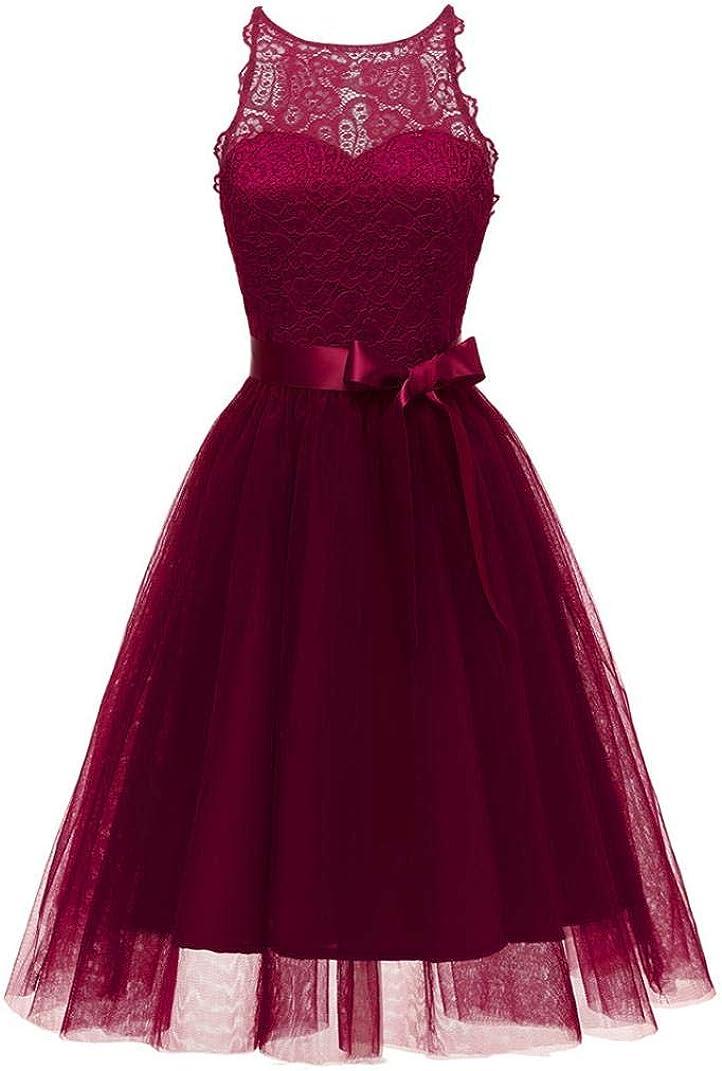 OverDose mujer De La Vendimia Princesa Bow CóCtel De Encaje Floral O-Cuello Fiesta Formal Una LíNea Swing Dress Novia Vestidos De Dama De Honor