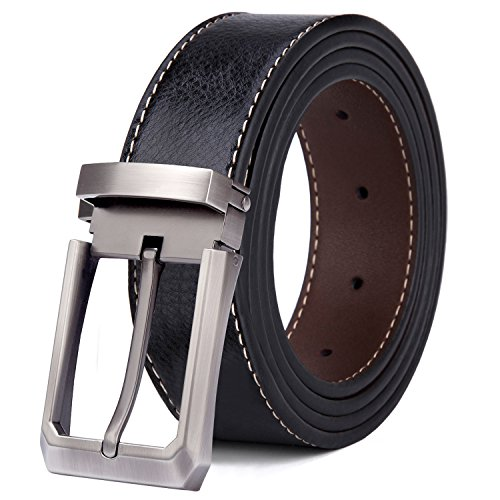 Tonly Monders Men's Belt Leather Reversible Black Brown 28'-39'