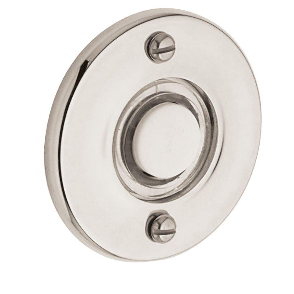 Baldwin 4851055 Round Bell Button, Lifetime Bright Nickel