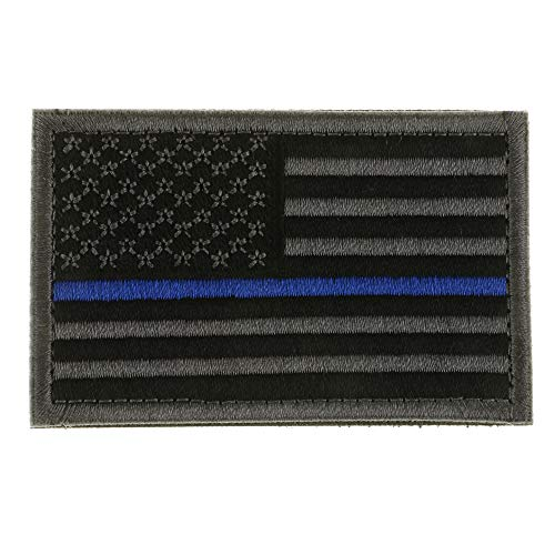 New-Hi American Flag Embroidery Tactical Patch Armband Applique Army Badge with Hook & Loop Great for All Outdoor Sports-Black Gray with Blue (Stripes Applique Flag)