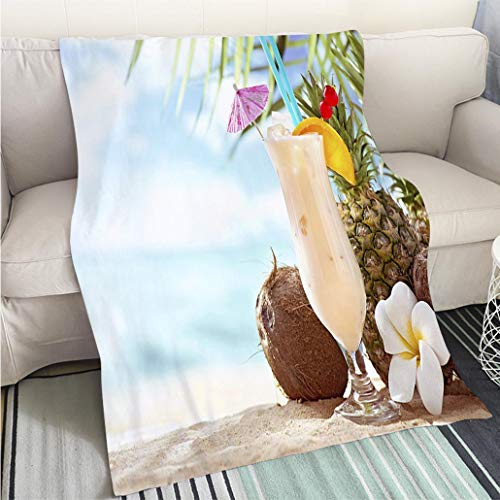(Creative Flannel Printed Blanket for Warm Bedroom Pina Colada Cocktail on The Beach with Copy Space Perfect for Couch Sofa or Bed Cool Quilt)
