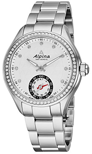 Alpina Horological Smartwatch Womens Fitness Watch - 39mm Silver Face Swiss Quartz Diamond Running Watch - Stainless Steel Band Water Resistant Sleep Monitor Activity Tracker for Women AL-285STD3CD6B