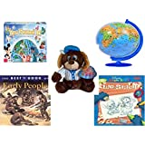 """Children's Gift Bundle - Ages 6-12 [5 Piece] - World of Disney Eye Found It Board Game - XXL Children's Globe 180 Piece Puzzleball Toy - Sugarloaf Toys Baseball Dog Plush 11"""" - The Best Book of Earl"""
