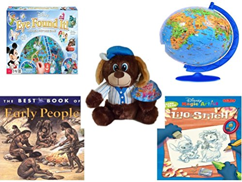 Children's Gift Bundle - Ages 6-12 [5 Piece] - World of Disney Eye Found It Board Game - XXL Children's Globe 180 Piece Puzzleball Toy - Sugarloaf Toys Baseball Dog Plush 11