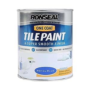 Ronseal - Pintura para Azulejos Una Capa Impermeable y Secado Rápido - Azul Francia 750ml