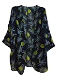 SimWish Women's Floral Printed Chiffon Kimono Cardigan Coverup Capes Tops (Large, Black-Pineapple)