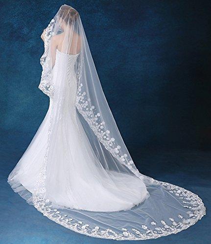 Cheap blanco novia de tul de una capa de encaje dobladillo boda velo con flores Blanco A