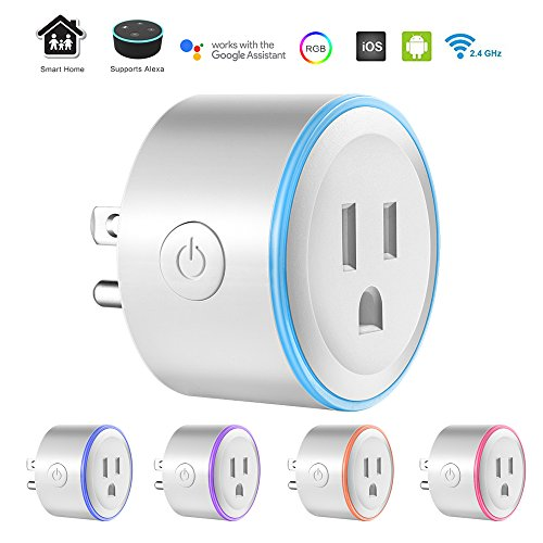 Smart Plug Mini with RGB LED Light, ALLOMN Wi-Fi Wireless Socket Outlet with 8 Scene Modes, Compatible with Alexa, No Hub Required, Timer, Remote Control Your Devices from Anywhere