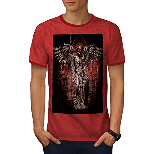 (wellcoda Angel Skeleton Rock Mens Ringer T-Shirt, Religion Graphic Print TeeHeather Red/Red S )