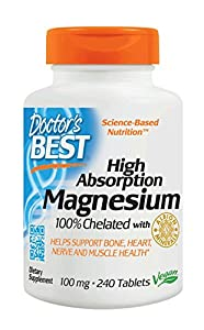 Doctor's Best High Absorption Magnesium Glycinate Lysinate, 100% Chelated, Non-GMO, Vegan, Gluten Free, Soy Free,  100 mg, 240 Tablets (packaging may vary)