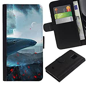 LECELL--Cuero de la tarjeta la carpeta del tirón Smartphone Slots Protección Holder For Samsung Galaxy S5 Mini, SM-G800 -- Ballena Espacio --