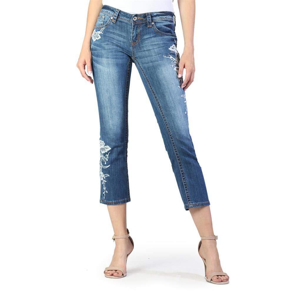 Grace in LA Women's Junior Fit Floral Denim Flare Capri Jeans   JCF2215