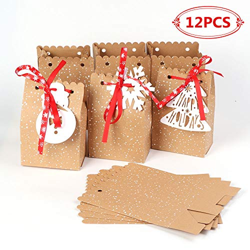 (Aparty4u 12pcs Christmas Gift Bags, Kraft Paper Bags Goodie Bags for Christmas Party Decoration 5 x 3 x 7)