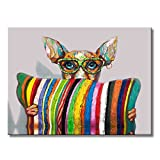 FLY SPRAY Panel Stretched Framed 100% Hand Painted Oil Paintings Canvas Wall Art Funny Colorful Dog with Glasses Striped Pillow Modern Abstract Artwork Painting for Living Room Bedroom Office Home