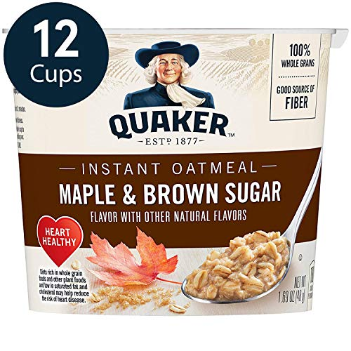 Quaker Instant Oatmeal Express Cups, Maple & Brown Sugar, 12 Count (Instant Oatmeal Maple And Brown Sugar Nutrition)