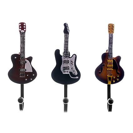 3pieces/envejecido, música perchero de pared ganchos gancho cocina percha decorativa para guitarra regalo único para amante de la música