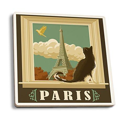 Lantern Press Paris, France - Eiffel Tower and Cat Window (Set of 4 Ceramic Coasters - Cork-Backed, Absorbent)