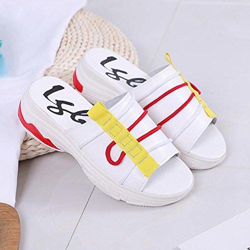 LIXIONG zapatillas mujer verano Moda Street beat Playa de arena Acogedor zapato Altura del talón 5cm, 2 colores -Zapatos de moda (Color : Negro, Tamaño : EU38/UK5.5/CN38/240) Blanco