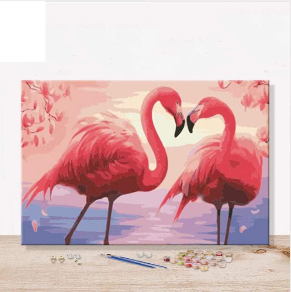 DIY Pinturas por Números Cuadro Pintura Al Óleo sobre Lienzo con Kits Flamingo Animal Decorativo Colgante Dibujo Regalo 40x50cm Enmarcado