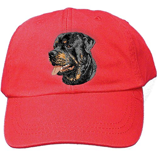 - Cherrybrook Dog Breed Embroidered Adams Cotton Twill Caps - Red - Rottweiler