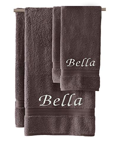 (Liberty21 Monogrammed Personalized Bath & Hand Towel Set. Custom Embroidered Towels. Set of 2. (Dark Gray))