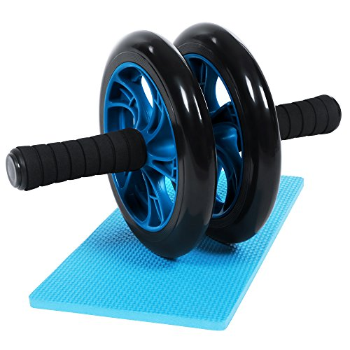 BEWISHOME AB Roller Wheel (Dia.20cm) Exercise And Fitness Gym Roller with Thick Knee Pad(0.43inch / 11mm) For Core Training And Abdominal Workout TJF01L