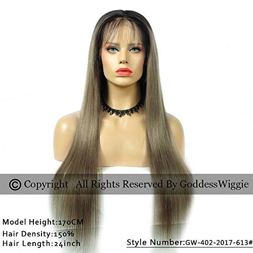 New Fashion 2T Ombre Ash Brown Hair Color Silky Straight Glueless Brazilian Human Hair Lace Front Wigs (22inch 180%) by Goddess