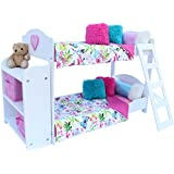 20 Pc. Bedroom Set for 18 Inch American Girl Doll. Includes: Bunk Bed, Bookshelf, x2 Bedding Sets, x2 Pajama Sets and more...