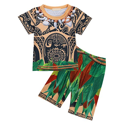 dPois Maui Toddler Kids Boys Pajamas Sets Tops with Pants Fancy Costumes Cosplay Outfits Short Sleeves 18-24 (Halloween Baby Sleepsuit)