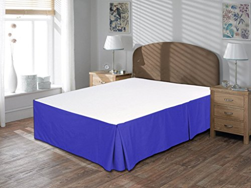 (BedFord Collection Egyptian Cotton 750TC 1 Piece Bed Skirt Twin Size 18'' Inch Drop Length Egyptian Blue Solid)