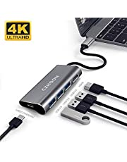 USB Type C Hub, CZHOON USB C Adapter with 3 USB 3.0 Ports, 4K HDMI and Type C Charging Port for MacBook Pro Chromebook Nintendo Switch and Windows Type C laptop-Grey