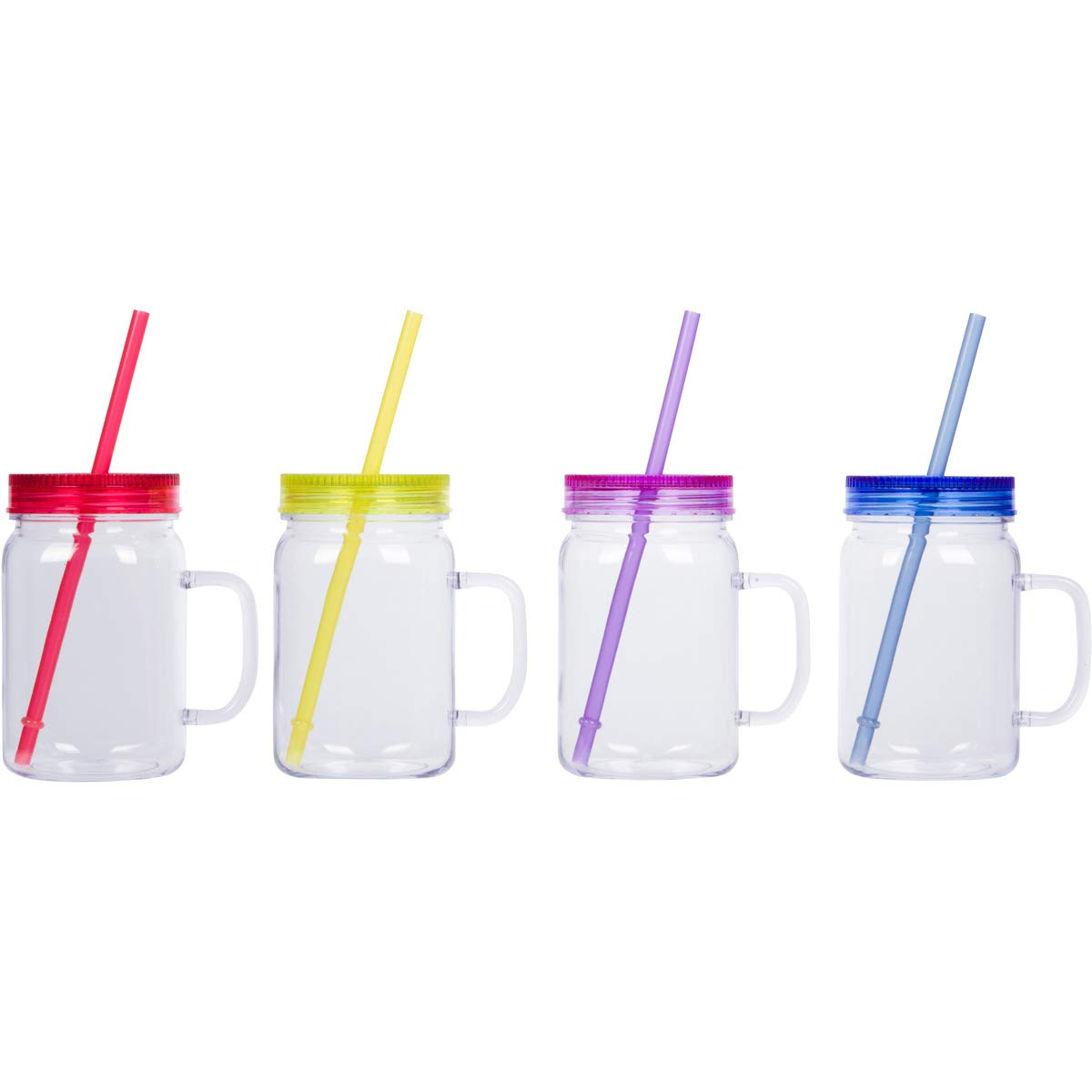 Zephyr Goods Plastic Mason Jars with Handles, Lids and Straws   12 oz Plastic Tumblers with Straw   Set of 4   Drinking Mason Jar Mugs   Great Cups for Kids , Adults and Grandparents
