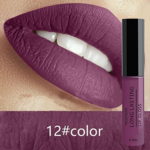Metallic Lip Gloss,Sunmoot Cream Lip Stain Liquid Lipstick Lip Gel Waterproof Matte Makeup (12)