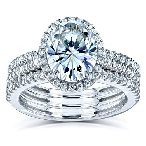 Kobelli Oval Moissanite Halo 3-Piece Bridal Rings Set 2 1/2 CTW 14k White Gold, 7