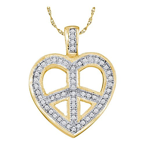 Roy Rose Jewelry 10K Yellow Gold Womens Round Diamond Heart Peace Sign Pendant 1/6-Carat tw - Diamond Peace Pendant