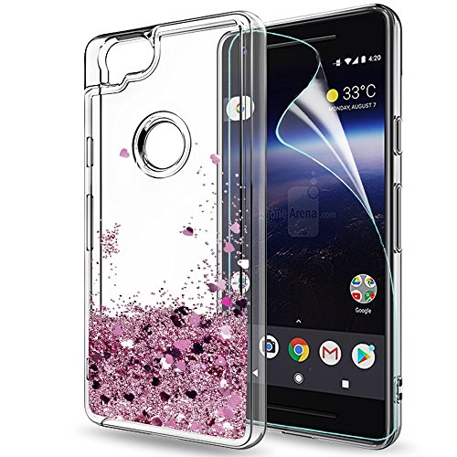 Pixel 2 Case,Google Pixel 2 Case with HD Screen Protector for Girls Women,LeYi Cute Bling Shiny Moving Quicksand Liquid Glitter TPU Protection Phone Case for Google Pixel 2 (2017) ZX Rose Gold