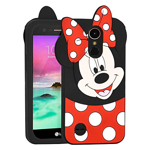 Allsky Case for LG Tribute Dynasty/Zone 4/Aristo 2/Aristo 3/Tribute Empire,Cartoon Soft Silicone Cute 3D Fun Cool Cover,Kawaii Kids Girls Teens Animal Character Cases for LG K8 2017 Minnie Mouse